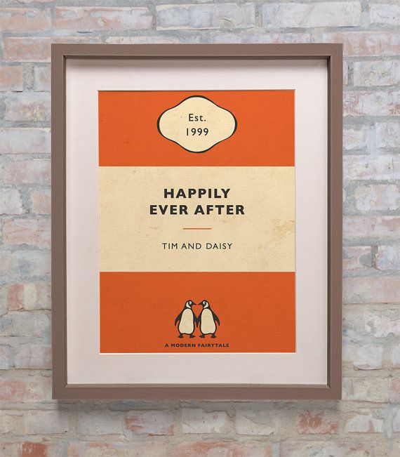 Penguin Book Cover Framed : Personalised penguin book cover print new colours