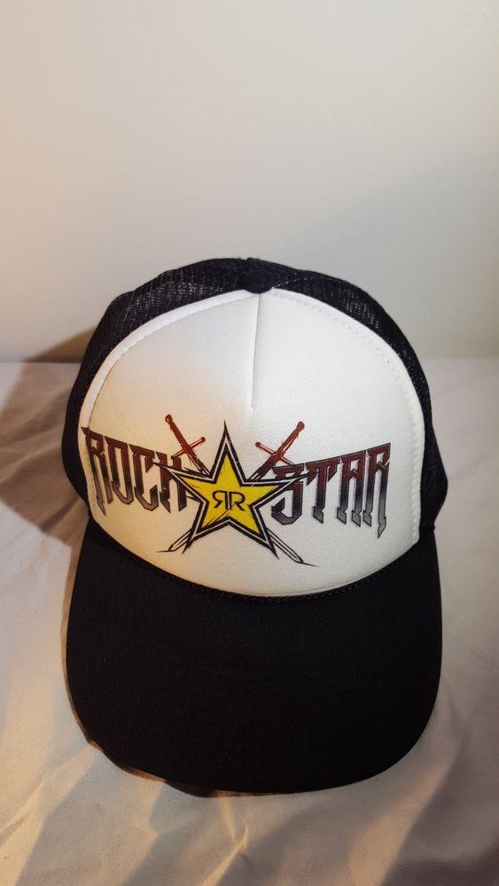 Rockstar Energy Drink Rockstar Mesh Back Trucker Hat White Black Vintage  Look  Nissun  Trucker 021827ac236