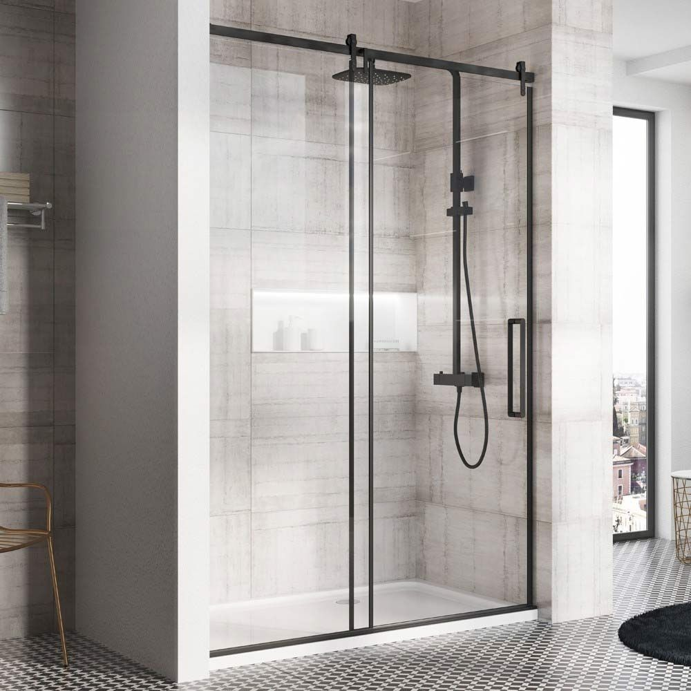 Harbour Icon Matt Black 8mm 2m Tall Easy Clean Sliding Shower Door Optional Side Panel Black Shower Doors Sliding Shower Door Shower Doors