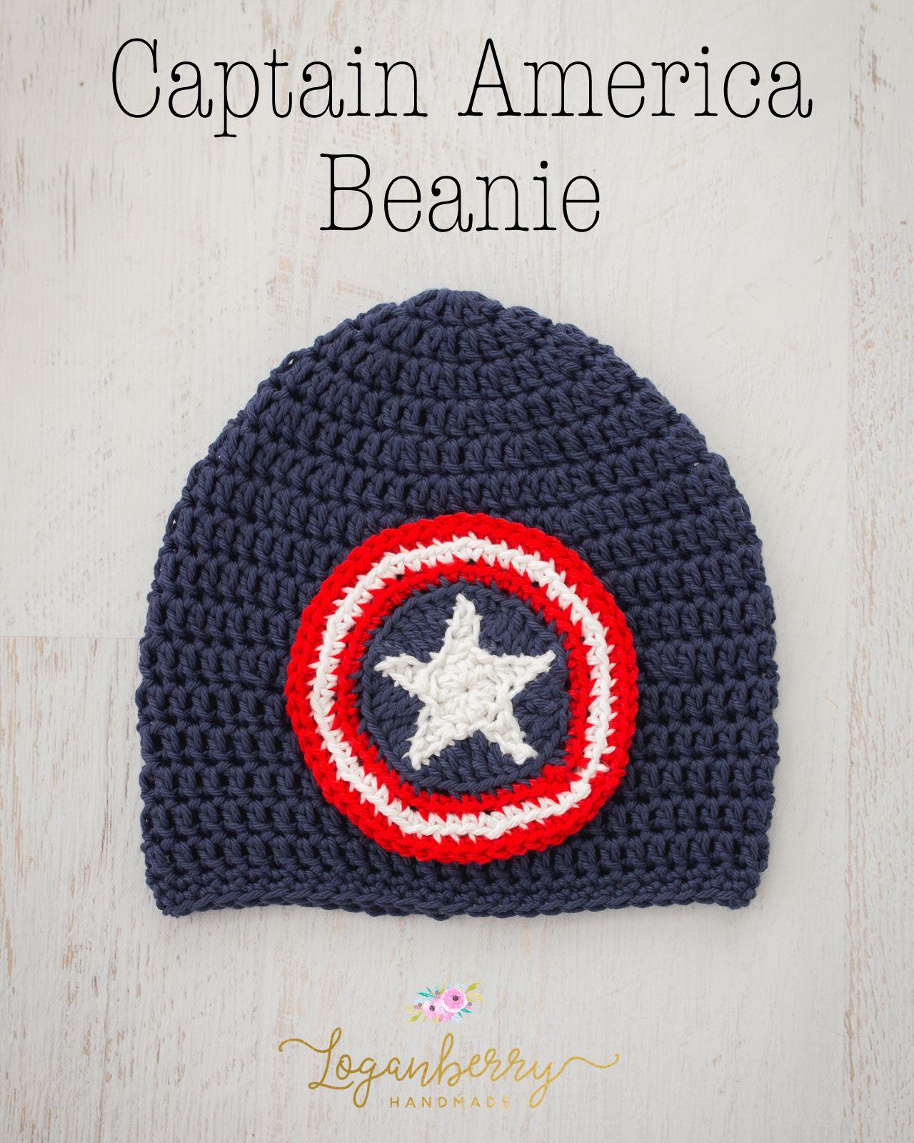 Captain America Beanie – Free Crochet Pattern (Pinwheel Cottage ...