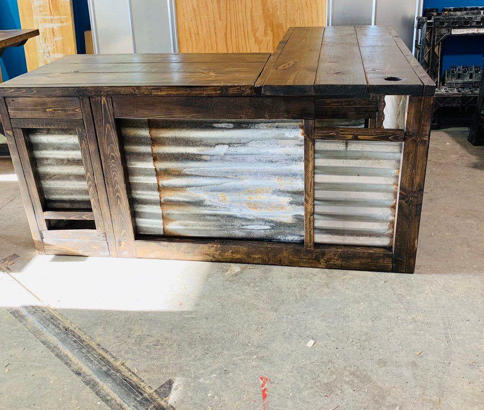 Rustic Farmhouse Style Desk, L Shape Return Desk, Dark