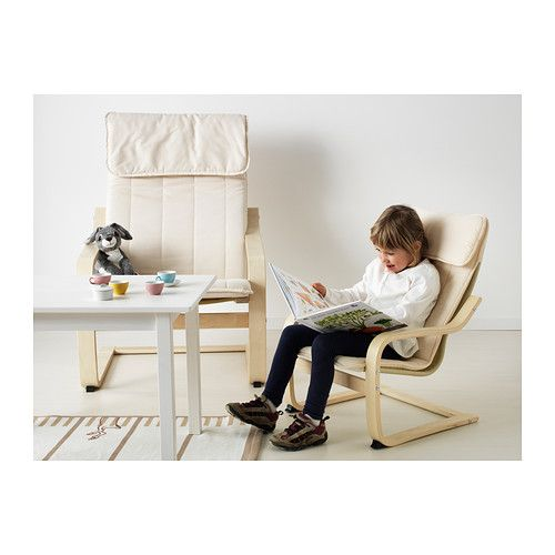 POÄNG Children's armchair birch veneer, Almås natural