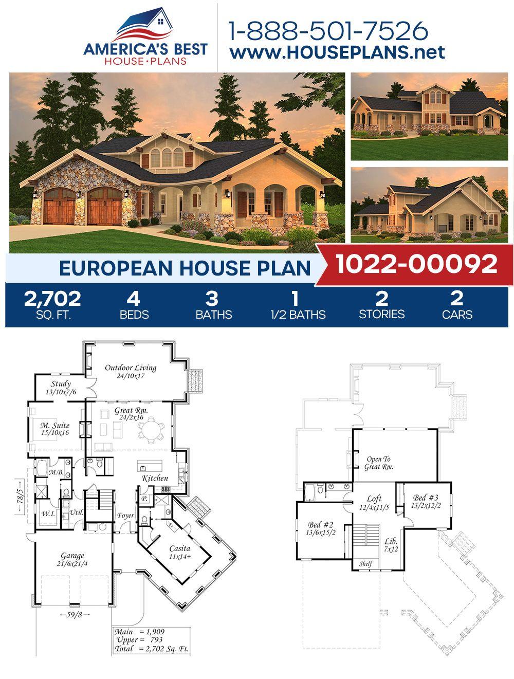 House Plan Square Feet In 2020 European House Plans Dream House Plans European House