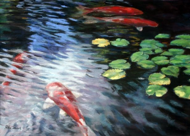 In the way-softer colors, a koi painting might be gorgeous all by itself, or we could make it like a trompe l'oeil tapestry on an ornate rod and shadow it out...