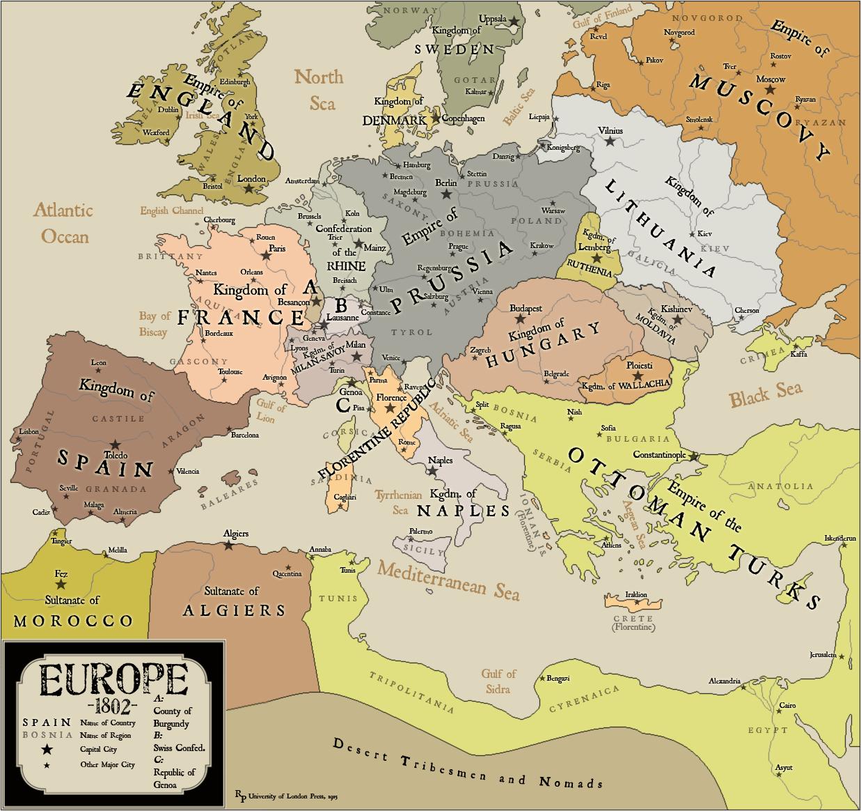 Map showing an alternate history where Anne Boleyn ruled as ...