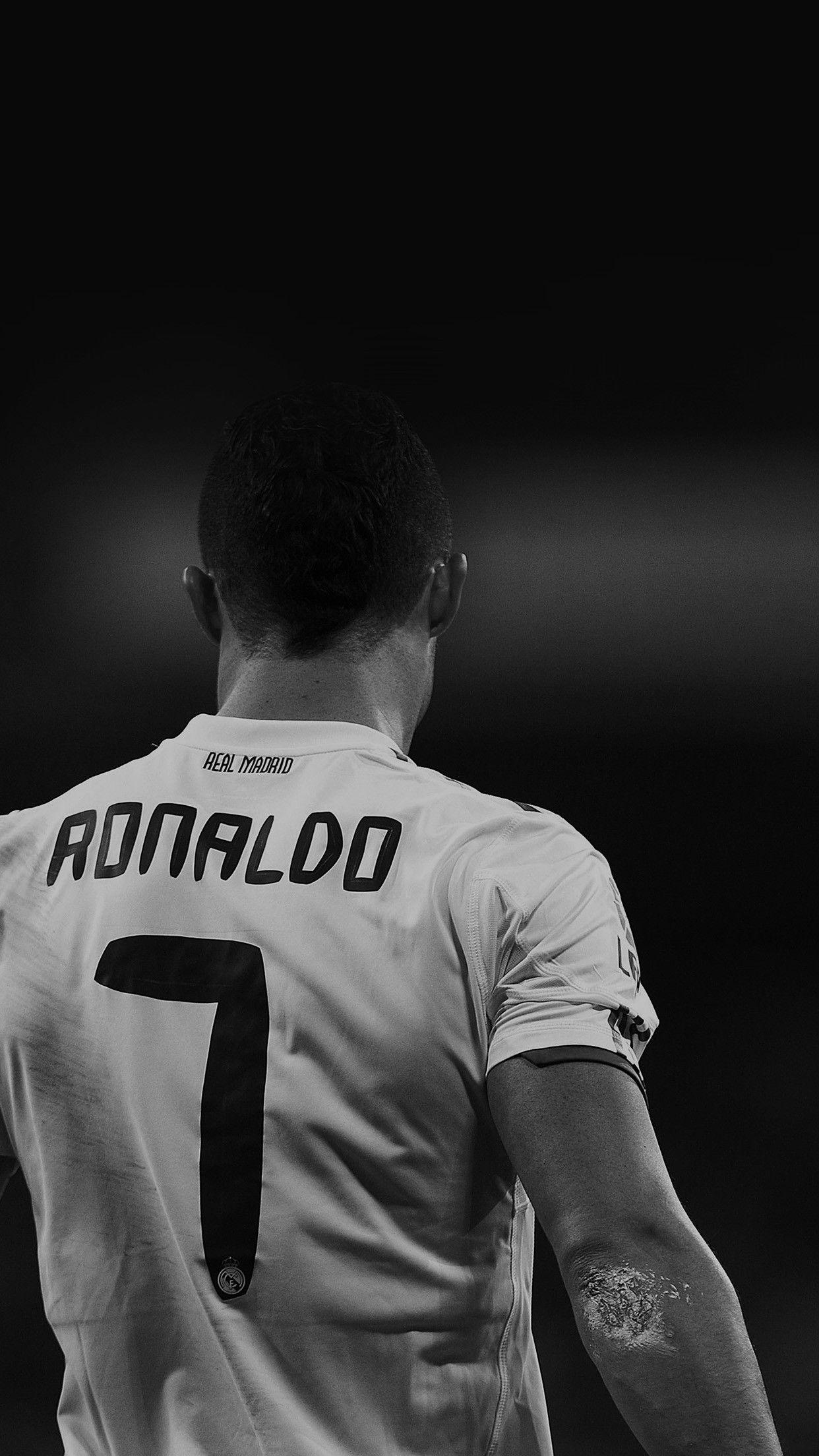 Cristiano Ronaldo 7 Real Madrid Soccer Black And White Star