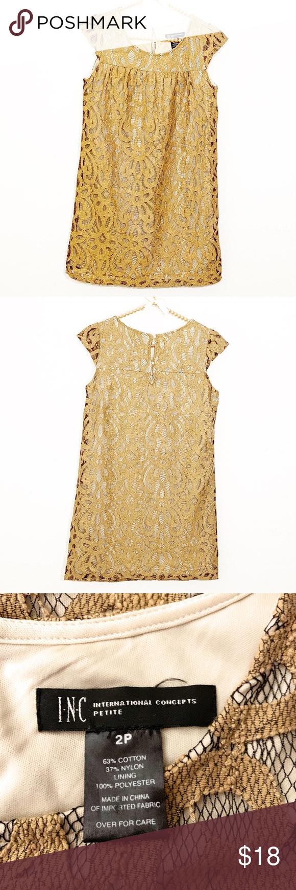 Inc Gold Lace Shift Dress Size 2p Inc Gold Lace Shift Dress Size 2p The Color Is Most Close To Last Picture Size Lace Shift Dress Shift Dress Clothes Design [ 1740 x 580 Pixel ]
