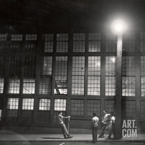 Teenage Boys Whiling Away a Summer Night on the Street Photographic Print by Gordon Parks at Art.com