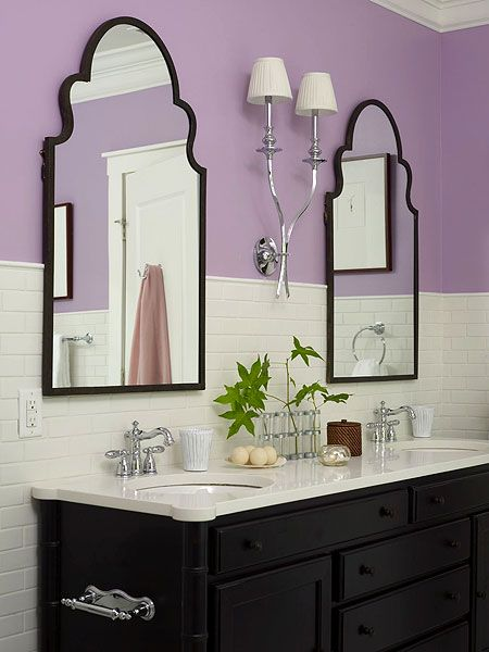 White Subway Tile Is Paired With Bright Lavender Walls For A Fun And Casual  Guest Bathroom
