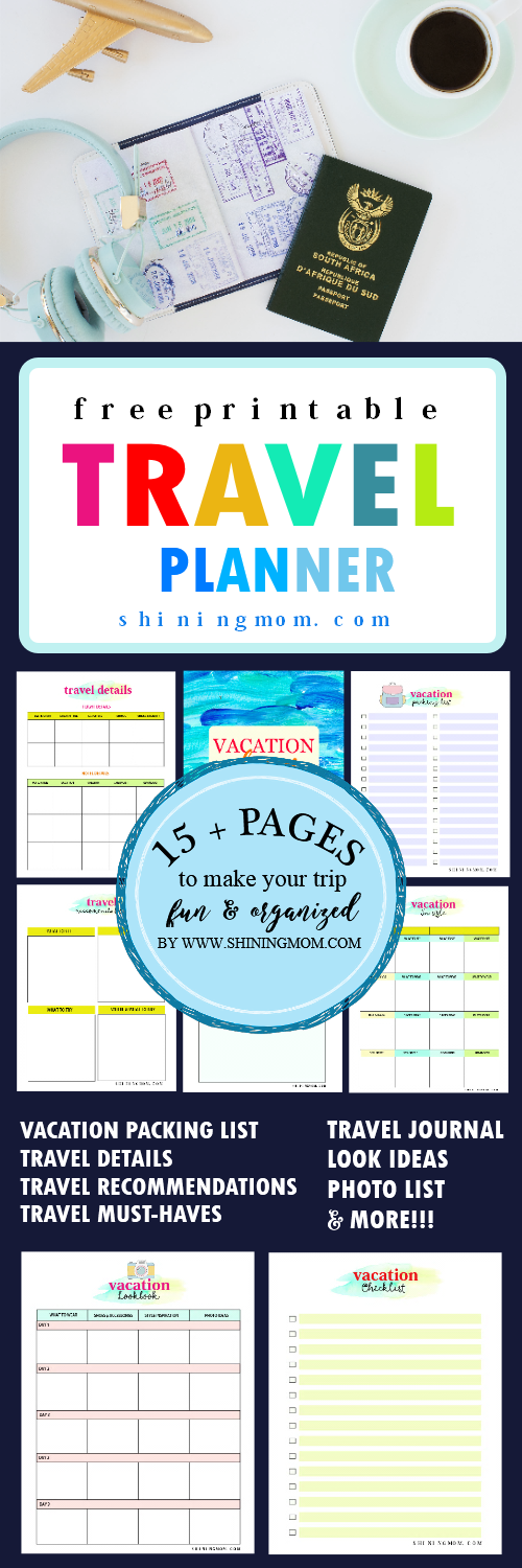 15 Free Trip Planner Printables For Your Next Vacation Travel Journal Printables Vacation Planner Travel Planner