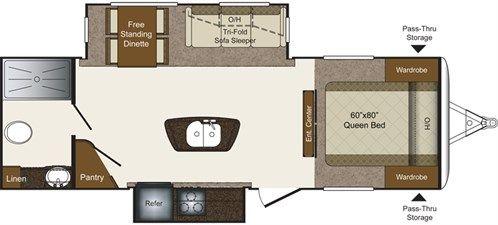 Avalanche Fifth Wheels 381FL Floorplan Keystone RV – 30 Ft Travel Trailer Floor Plans
