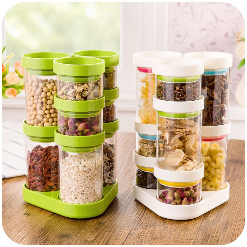 8 pcs set Kitchen supplies store sealed cans plastic containers