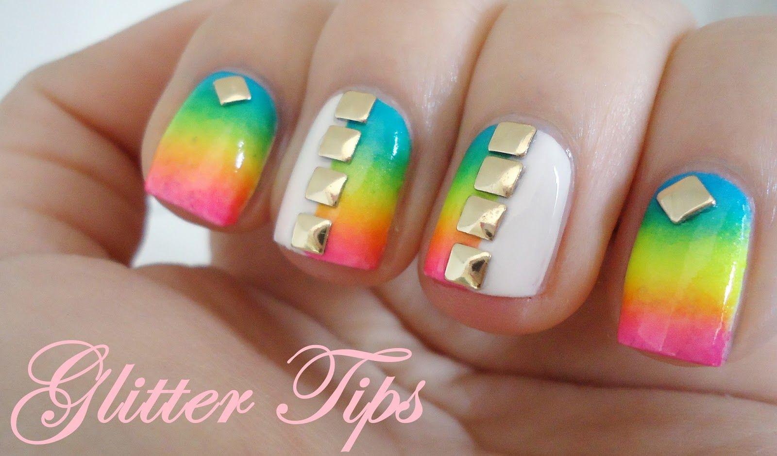 Glitter Tips: Rainbows, Gradients and Studs - Nail Art