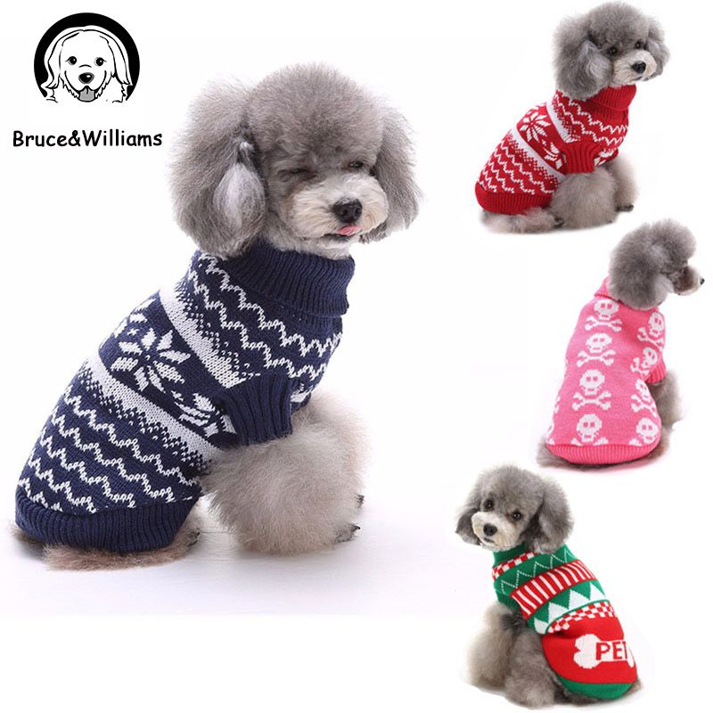 Bruce&Williams 15 Colors Winter Dog Clothes Warm Sweater Coat Dogs ...