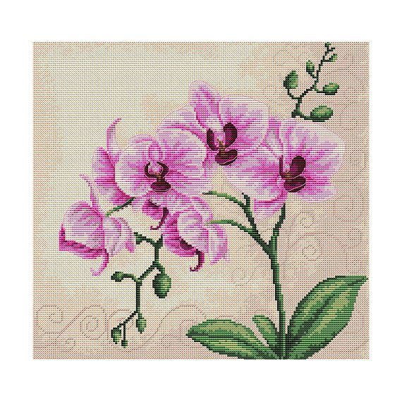 Counted Cross Stitch Kit Pink Orchids Counted Cross Stitch Modern Cross Stitch Embroidery kit Easy DIY cross stitch Flower stitch Luca-S #floralembroidery