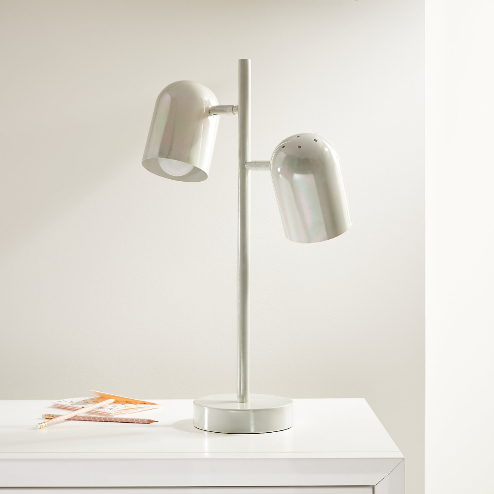 White Iridescent Touch Table Lamp Reviews Crate And Barrel In 2020 Touch Table Lamps Table Lamp Touch Table