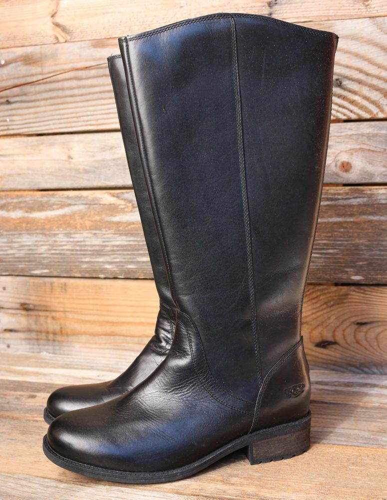 UGG Australia Womens Seldon Black Leather Tall Riding Boots US 10 UK 8.5 EU  41 #