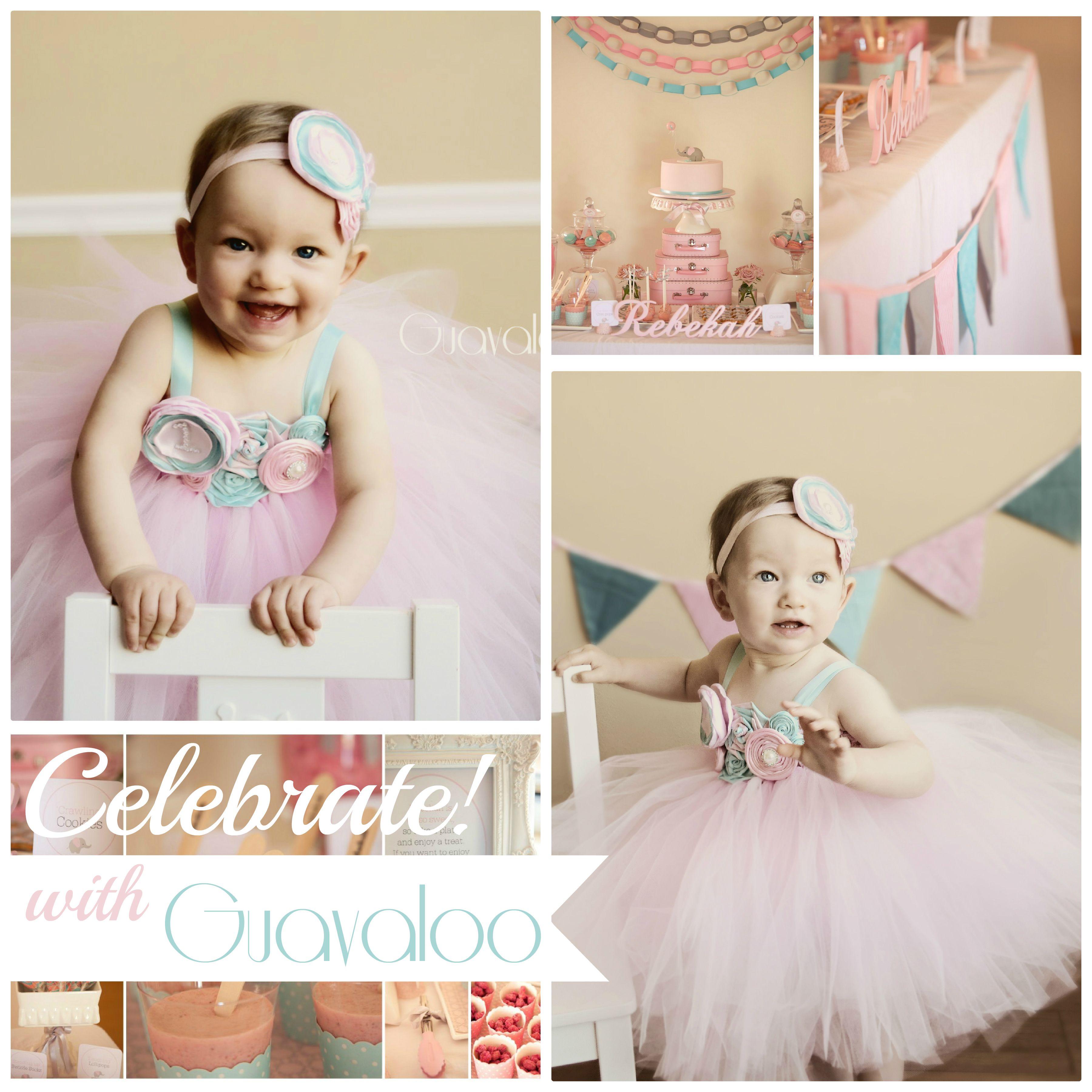 Pink Aqua Blue Tutu Dress First Birthday Party by Guavaloo My