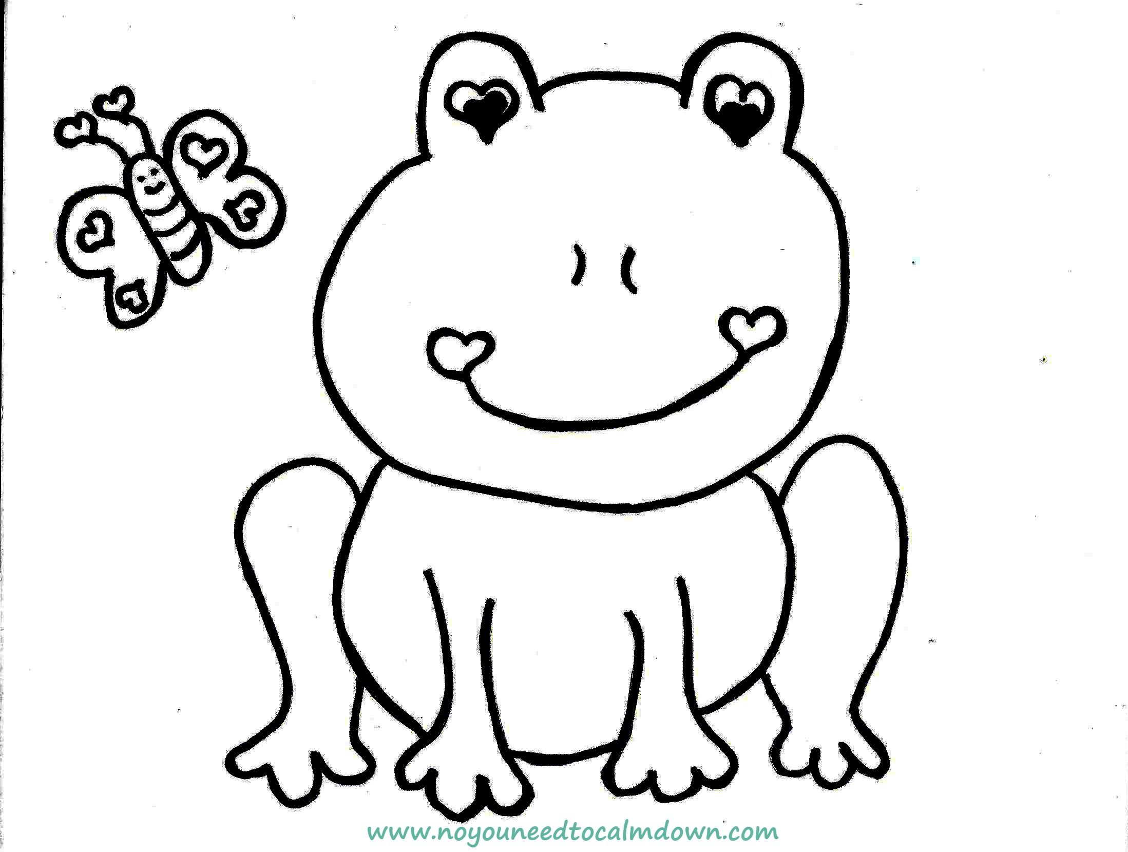 Cute Frog Valentine's Day Coloring Page Free Printable