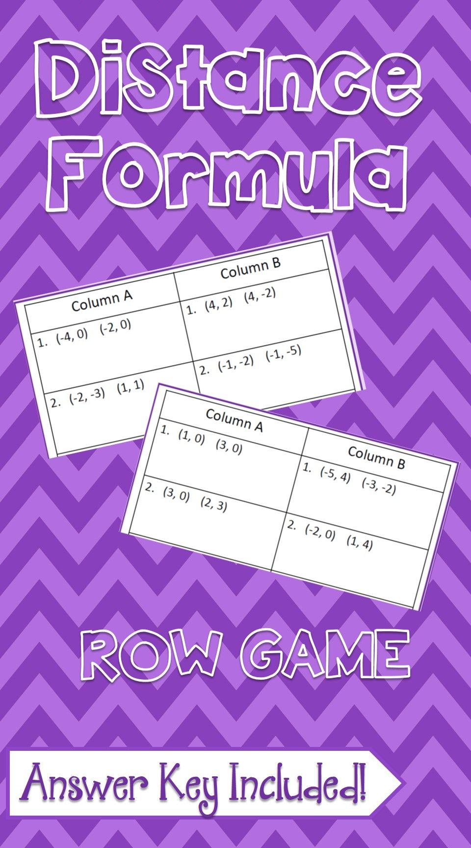Distance Formula Row Game Algebra formulas, Ninth grade