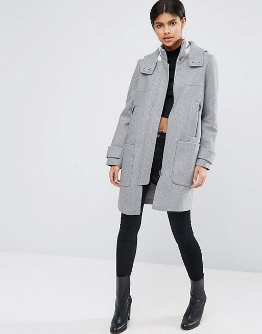 ASOS | ASOS Wool Blend Coat with Tipped Rib and Funnel Neck