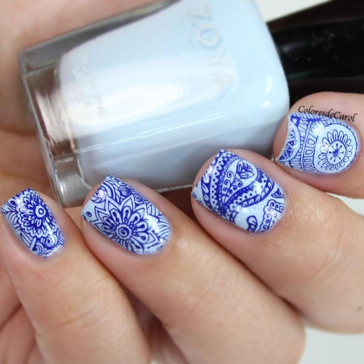 Stamped Mani By #coloresdecarol Using BM-S107 From Shangri