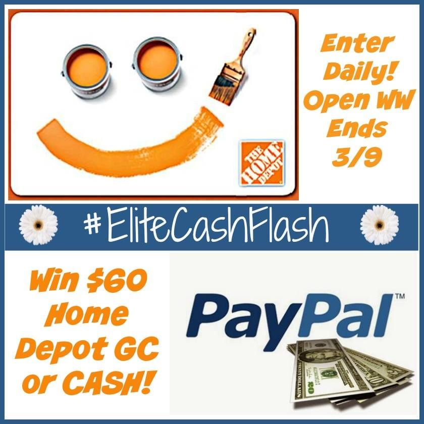Winner   choice home depot or paypal cash giveaway elitecashflash ends and dinners also rh pinterest