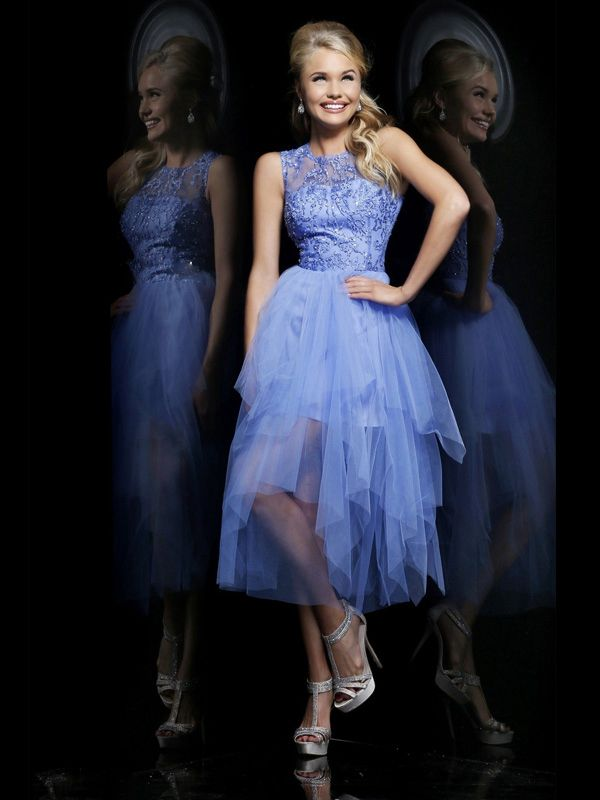Jewel Neckline Sleeveless A-line Lavender Tulle High Low Prom Dresses With Appliqued Beads at buytopdress.com
