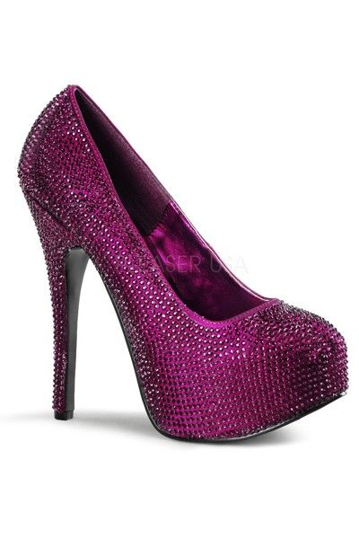 Purple Satin Rhinestone Platform Pump High Heels