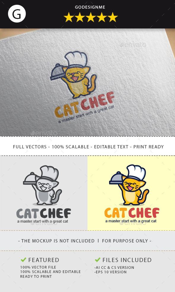 Cat chef logo design Chef logo, Animal logo and Logo templates - chef templates