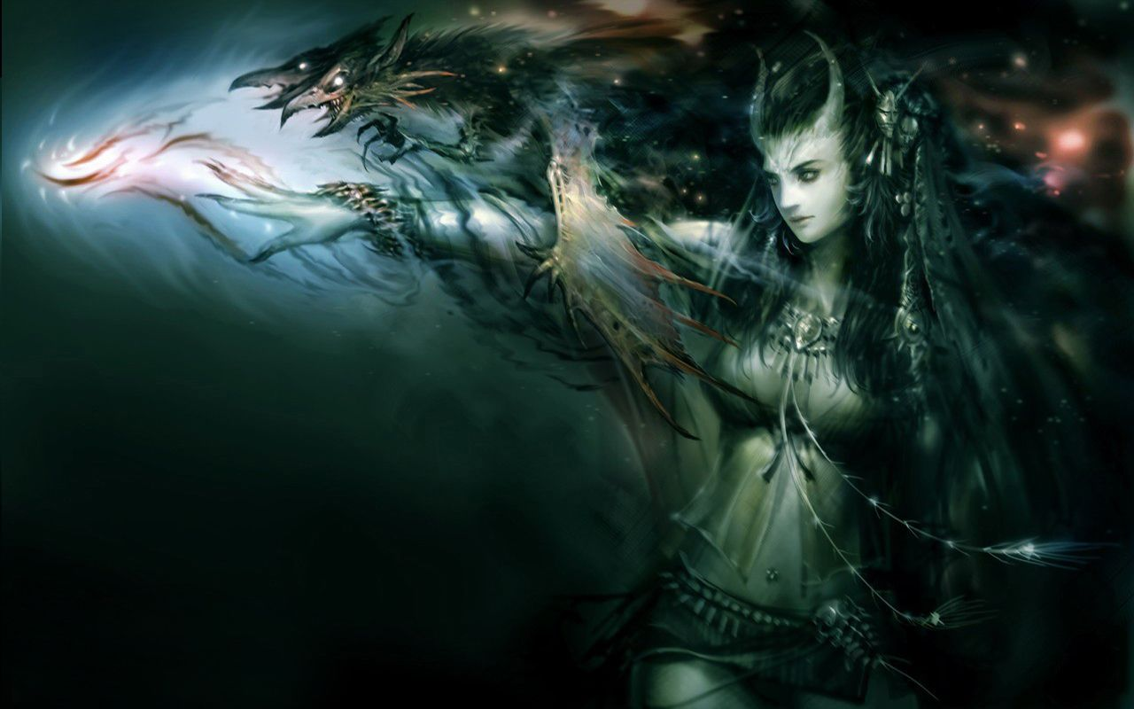 Fantasy Demon Dark Witch Snake Wallpaper Fantasy