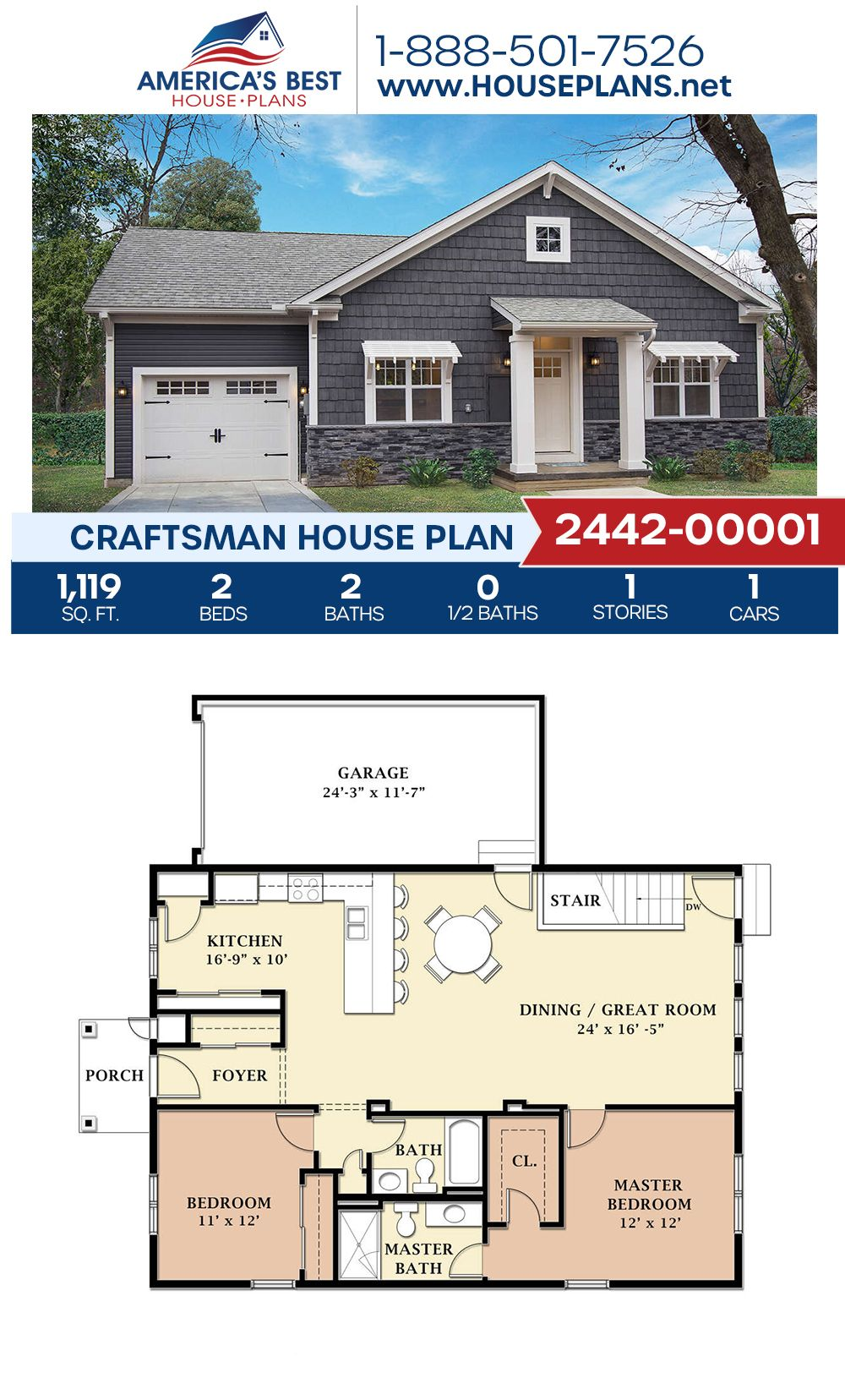 House Plan 2442 00001 Craftsman Plan 1 119 Square Feet 2 Bedrooms 2 Bathrooms In 2020 Craftsman House Plans Small House Floor Plans Sims House Plans