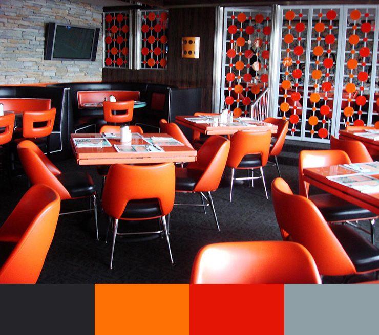 orange pop dining area interior design restaurant on sample color schemes for interiors id=70138