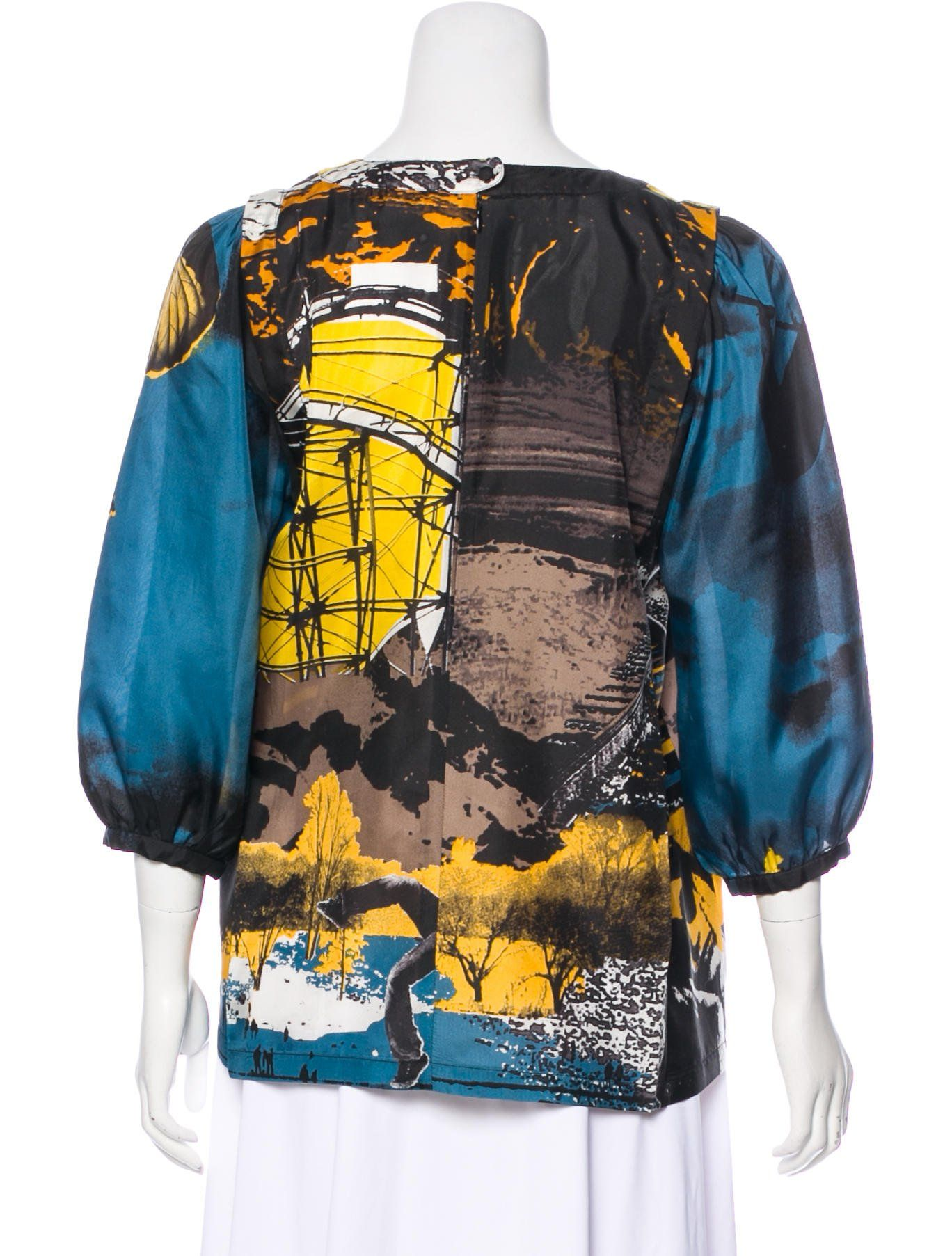 25de90d0 Blue-green, taupe and multicolor See by Chlo¨¦ silk blouse with abstract  print throughout, scoop neck three-quarter sleeves and zip closure at back.