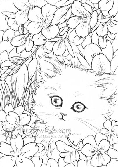 White Kitten In Flowers Cat Coloring Page Fantasy Art Flower Coloring Pages
