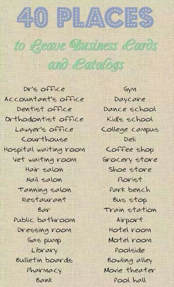 Where to leave your Scentsy Business cards, catalogs, or samples ...