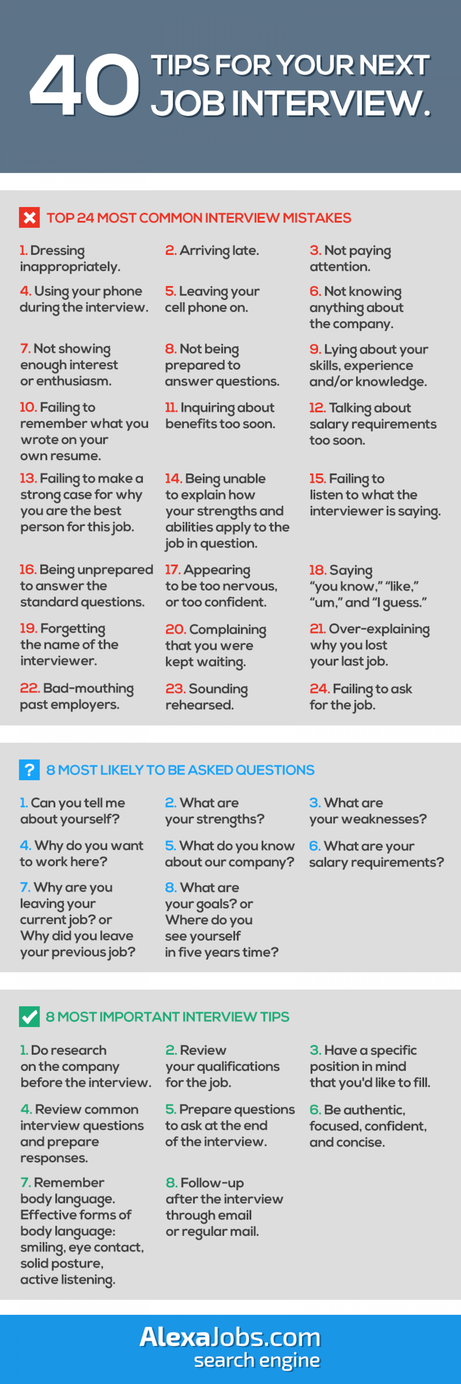 40 Tips For Your Next Job Interview! Infographic | Career ...