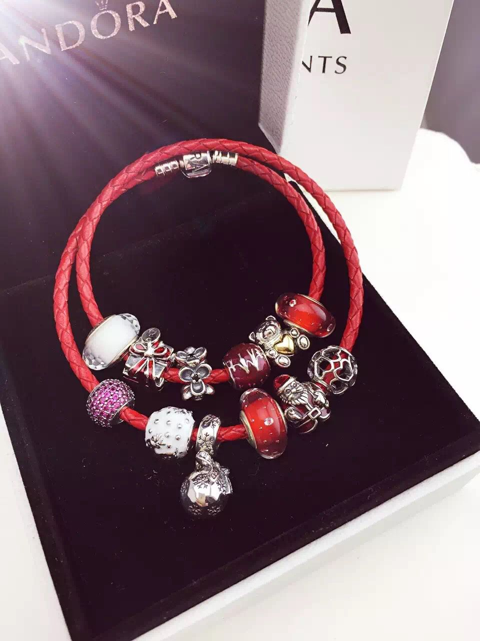 $299 Pandora Leather Charm Bracelet Red White Pink Christmas
