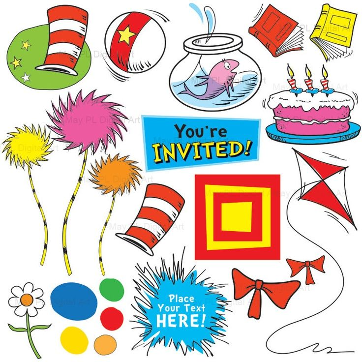 Dr seuss dr suess inspired clip art cute digital clipart kids ...