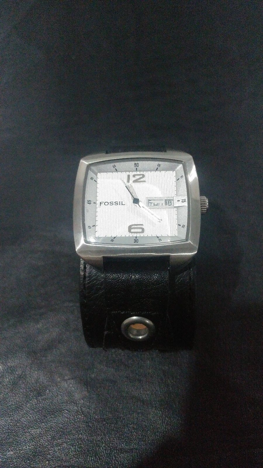 7097c9d6d9d Fossil Square faced Watch with wide black leather band - JR-9736 ...