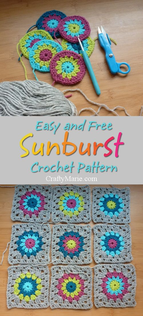 Easy Free Sunburst Granny Square Crochet Pattern Granny Square