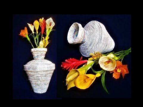 Newspaper Flower Vase Flower Pot Best Out Of Waste Diy Art