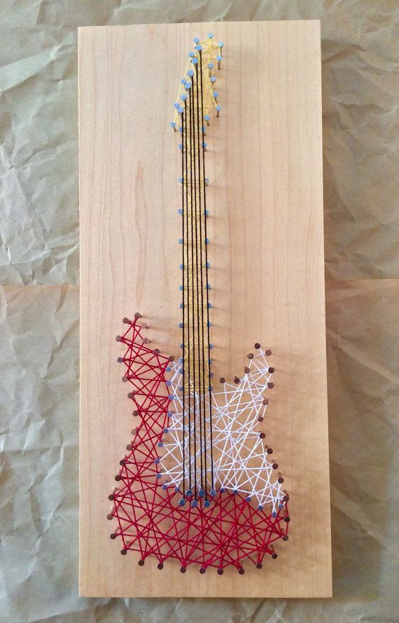 Items similar to Electric Guitar String Art on Etsy #electricguitars