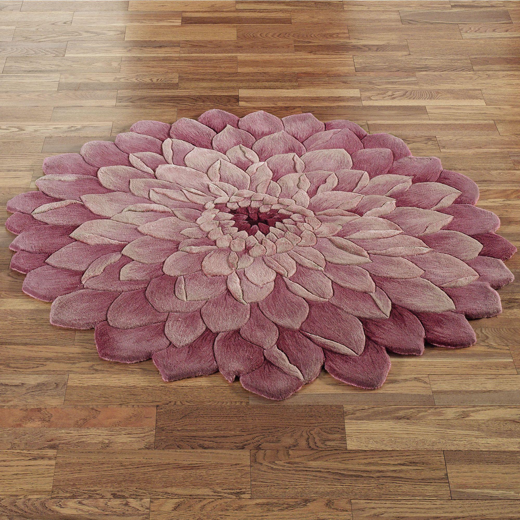 Adilyn mum flower shaped round rugs tapetes