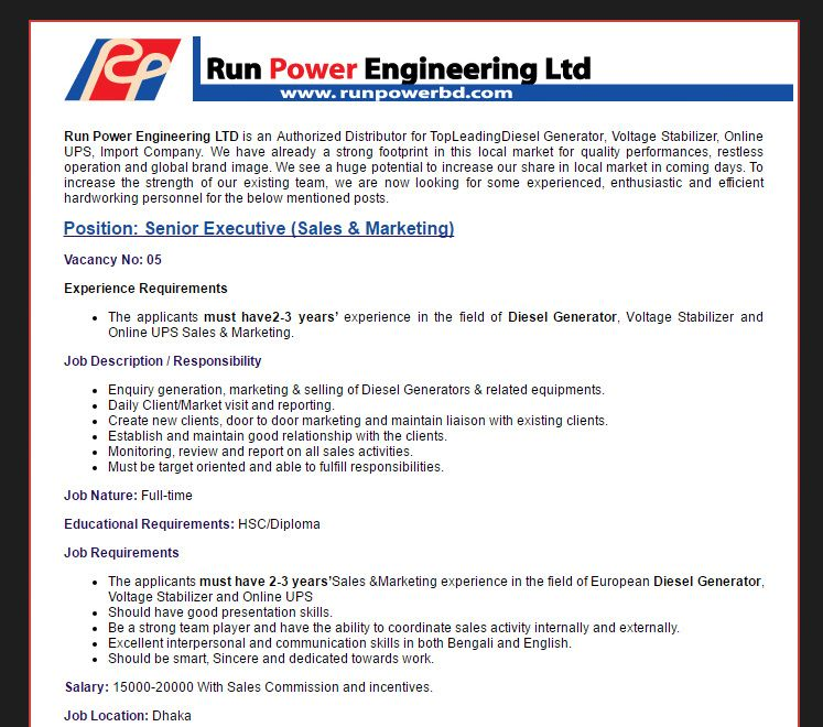 Career – Run Power Engineering Ltd – Senior Executive (Sales