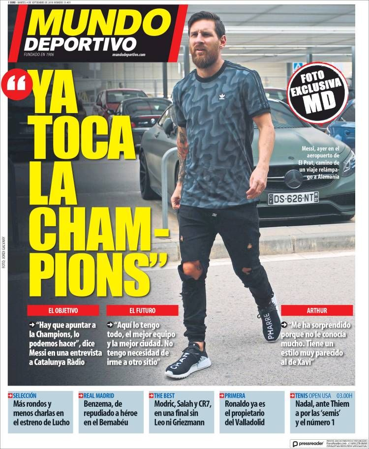 20180904 Portada de El Mundo Deportivo (España) Mundo