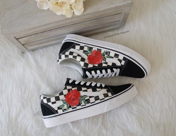 Custom Vans Old Skool Checkerboard Slip On Red Rose Appliqué, Embroidered Rose