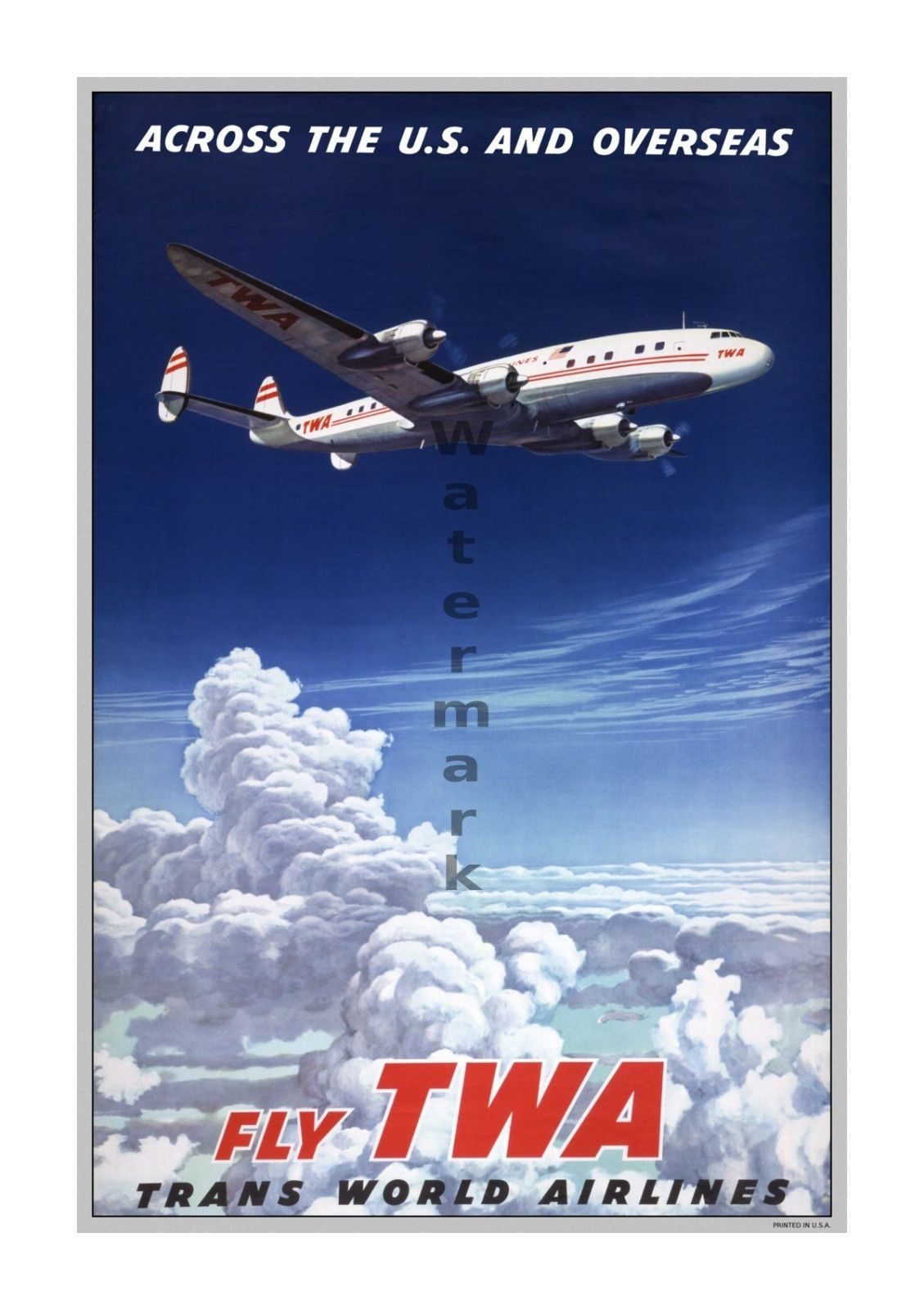 6 sizes matte+glosy avail TWA Across US /& Overseas Airline Travel Poster