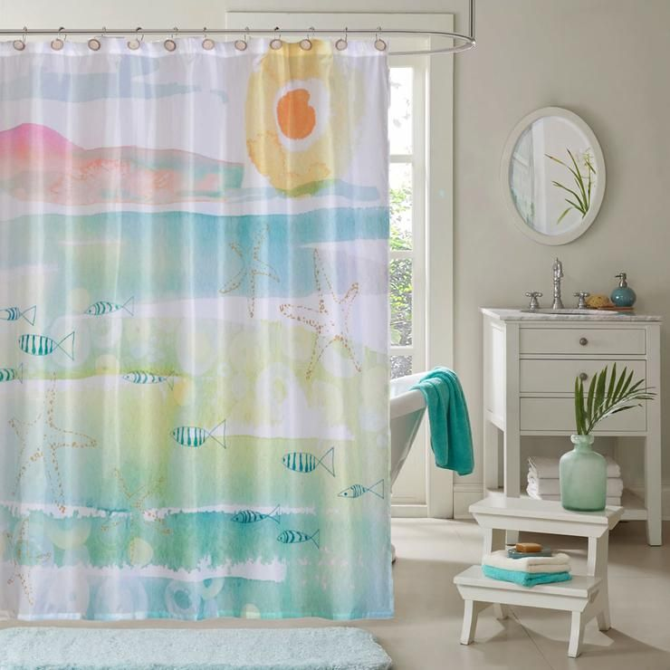 By The Sea Fabric Shower Curtains By Kathy Davis Fabric Shower Curtains Diy Bathroom Decor Cool Curtains