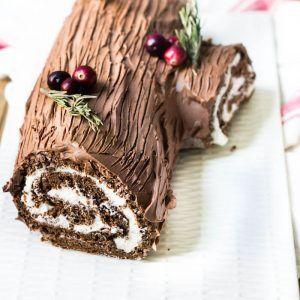 Bûche de Noël Recipe (Yule Log Cake) - Mon Petit Four #yulelog